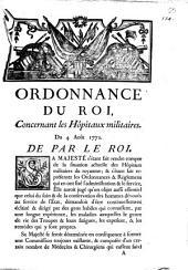 Ordonnance du Roi, concernant les Hôpitaux militaires, du 4 Août 1772