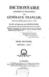 Dictionnaire historique et biographique des géneŕaux Francais: depuis le onzième siècle jusqu'en 1820, Volume8