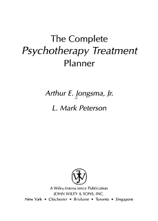 The Complete Psychotherapy Treatment Planner Book