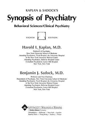 Kaplan and Sadock's Synopsis of Psychiatry