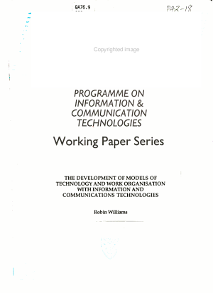 Development of Models of Technology and Work Organisation with Information and Communications Technologies PDF