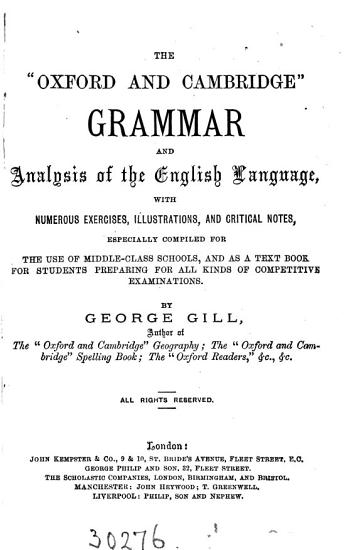 The  Oxford and Cambridge  grammar and analysis of the English language PDF