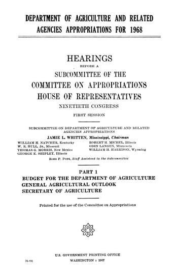 Department of Agriculture and Related Agencies Appropriations for 1968 PDF