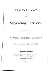 General Laws, Memorials and Resolutions of the Territory of Wyoming