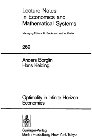 Optimality in Infinite Horizon Economies