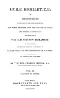 Horae Homileticae  Or Discourses Now First Digested Into One Continued Series and Forming a Commentary Upon Every Book of the Old and New Test PDF