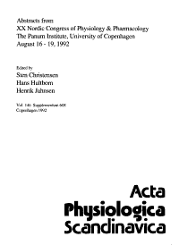 Abstracts from XX Nordic Congress of Physiology   Pharmacology  the Panum Institute  University of Copenhagen  August 16 19  1992 PDF