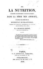 De la nutrition dans la série animale: thèse, etc