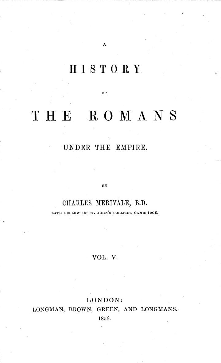 A History of the Romans under the Empire