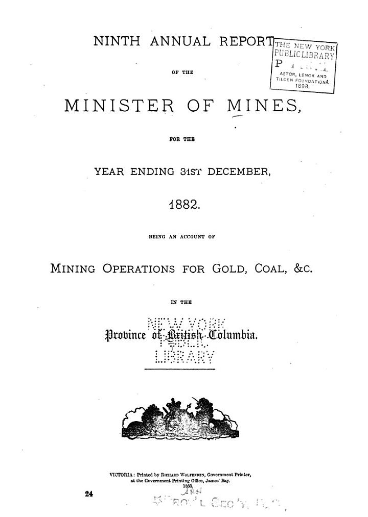 Annual Report of the Minister of Mines for the Year Ending ...