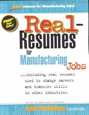 Real resumes for Manufacturing Jobs PDF
