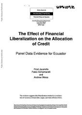 The Effect of Financial Liberalization on the Allocation of Credit: Panel Data Evidence for Ecuador