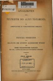 Analekten zur Textkritik des Alten Testaments: I. Abbreviaturen im vormasoretischen Bibeltext