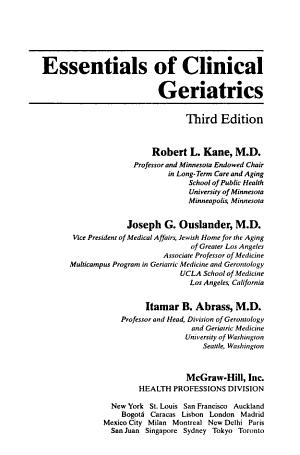 Essentials of Clinical Geriatrics PDF