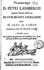 Verantwoordinghe D. Petri Lansbergii jeghens sekeren brief van Mr. Gvilielmvs Apollonii aen Mr. Joos van Laren geschreven den xvj. decemb. 1647