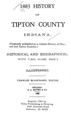 1883 History of Tipton County  Indiana PDF