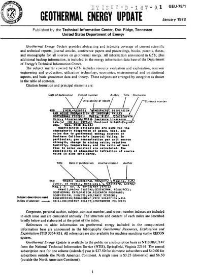 Geothermal Energy Update PDF