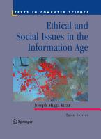 Ethical and Social Issues in the Information Age PDF