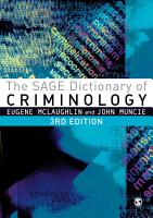The SAGE Dictionary of Criminology PDF