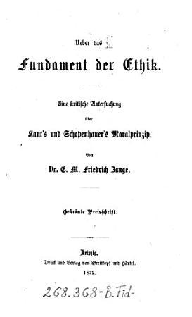 Ueber das Fundament der Ethik PDF