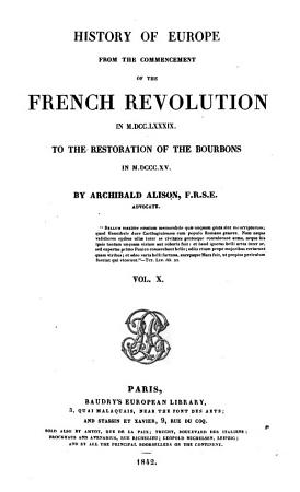 History of Europe from the commencement of the French Revolution  etc PDF