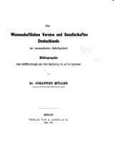 Die wissenschaftlichen Vereine und Gesellschaften Deutschlands im neunzehnten Jahrhundert PDF
