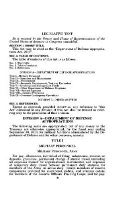 Department of Defense Appropriations Act, 2010