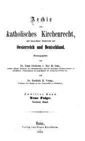 Archiv für katholisches Kirchenrecht: Band 12
