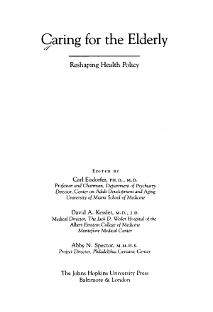 Caring for the Elderly PDF