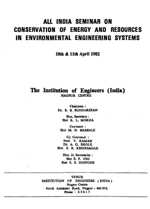All India Seminar on Conservation of Energy and Resources in Environmental Engineering Systems PDF