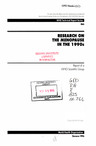 Research on the Menopause in the 1990s PDF