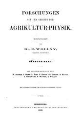 Forschungen auf dem gebiete der agricultur-physik: Band 5