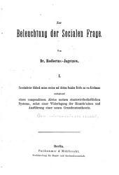 Zur Beleuchtung der socialen Frage