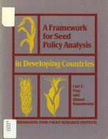A Framework for Seed Policy Analysis in Developing Countries PDF