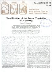 Classification of the forest vegetation of Wyoming