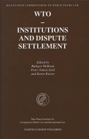 Max Planck Commentaries on World Trade Law  Institutions and dispute settlement PDF