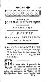 Nouveau journal helvétique, ou, Correspondance littéraire de l'Europe, & principalement de la Suisse : dédié au roi