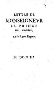 Lettre de monseigneur le prince de Condé, a la royne regente: Numéro4