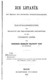 Die Letanîe: ein Beitrag zur deutschen Literaturgeschichte
