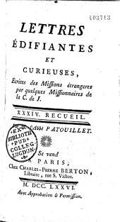 Lettres édifiantes et curieuses écrites des missions étrangères