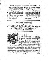 Vindiciae optimorum Latinitatis auctorum adversus iniquum censorem C. Asinium Pollionem