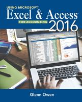 Using Microsoft Excel and Access 2016 for Accounting PDF