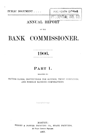 Annual Report of the Commissioner of Banks: Part 1