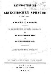 Handwörterbuch der griechischen Sprache: Band 1,Teile 1-2