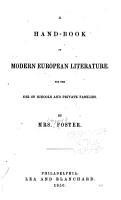 A Hand book of Modern European Literature PDF