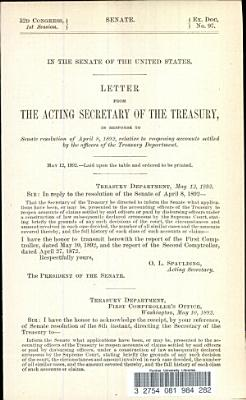 Letter from the Acting Secretary of the Treasury  in Response to Senate Resolution of April 8  1892  Relative to Reopening Accounts Settled by the Officers of the Treasury Department