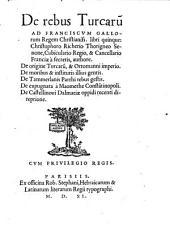 De rebus Turcarum ... libri quinque