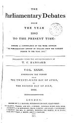 The Parliamentary Debates From The Year 1803 To The Present Time 26 Book PDF