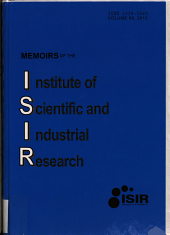 Memoirs of the Institute of Scientific and Industrial Research, Osaka University