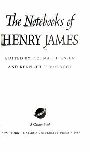 The Notebooks of Henry James PDF